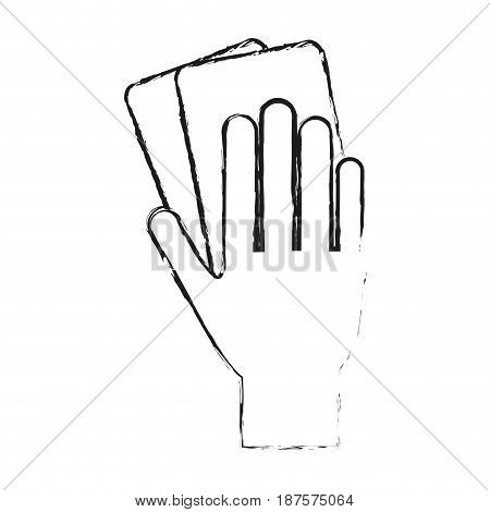 monochrome blurred silhouette of hand with soccer referee cards vector illustration