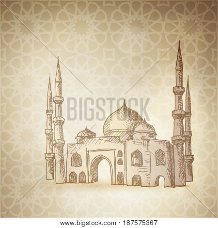 Hand drawn sketch of the mosque on the golden background with the traditional Arabic pattern. Greeting card, invitation for Muslim community holy month Ramadan Kareem, vector illustration.