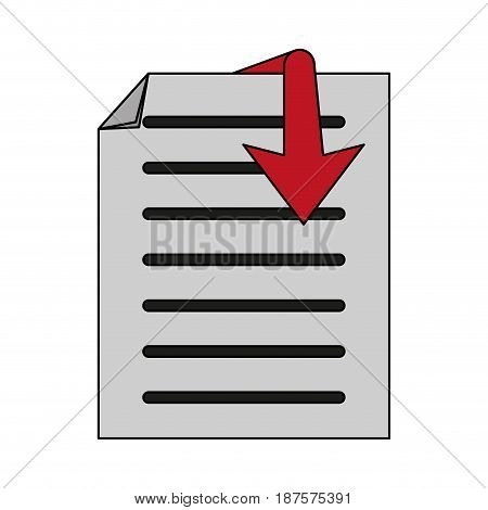 white background with text sheet and arrow vector illustration