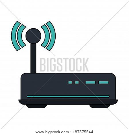 white background with wireless router vector illustration