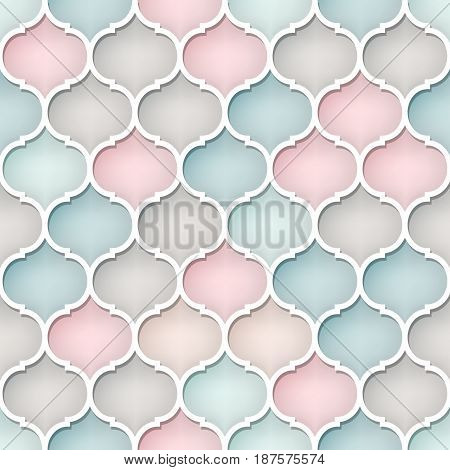 Abstract seamless pattern in Arabic style. Muted colors. 3-d picture.