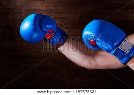 Blue and red boxing gloves on hands on brown background. Horizontal photo and wooden wall. Bright colorful boxing equipment. Boxing backgrounds. Sportive training and exercise. Concept of the sportive lifestyle.