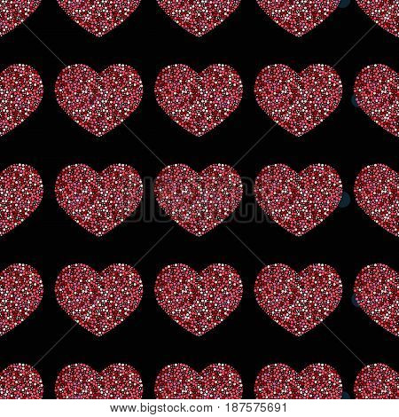 Seamless pattern of hearts-vector illustration. Red dots on a black background.