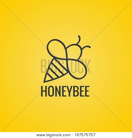 Vector icon honey bee. Logo flying honeybee. Insect. Bumblebee isolated illustration. Contemporary modern style design.