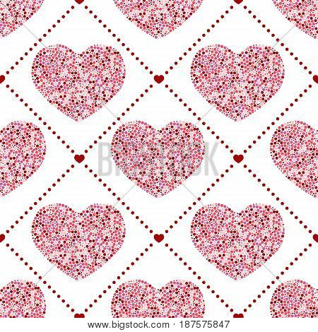 Seamless pattern of hearts-vector illustration. Red dots on a white background.