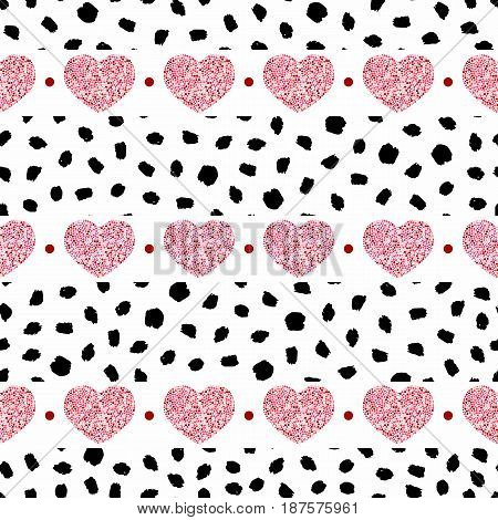 Seamless pattern of hearts-vector illustration. Red dots on a white background. Dots in the form of blots brush.