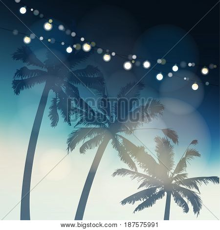 Tropical summer party or Festa Junina greeting card, invitation. Silhouette of palm trees again the evening sky illuminated by light bulbs. Garden party decoration, holiday concept. Vector background.