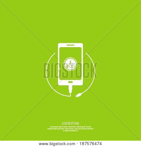 Abstract background with charge mobile phones. usb cable is connected to the smartphone. The concept  power charging. Vector. Renewable green energy Eco