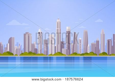 City Skyscraper View Cityscape Background Skyline Panorama Flat Vector Illustration