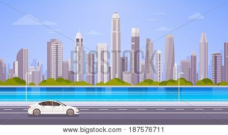 Car Drive Street Road Over City Skyscraper View Cityscape Background Skyline Panorama Flat Vector Illustration