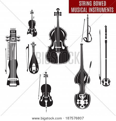 Vector set of black and white string bowed musical instruments in flat design. Classical and electric violin double bass erhu rebec cello sarangi isolated on white background.
