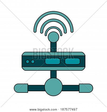 white background with wireless router network vector illustration