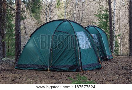 two tents in wood. Tourist rest