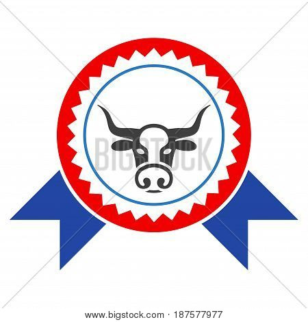 Cow Seal Stamp Ribbons flat vector pictogram. An isolated illustration on a white background.