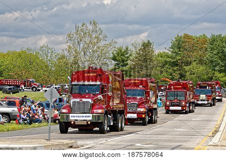 LANCASTER PA - MAY 14 2017: Make-A-Wish Foundation sets a new record for the largest truck convoy. On the Mother's Day annual fundraiser truckers grant a Lancaster County wish ride to children with life-threatening illnesses.