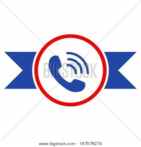 Phone Call Seal With Ribbons flat vector pictogram. An isolated illustration on a white background.