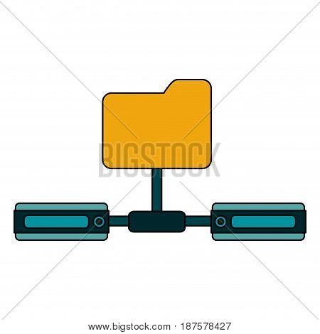 white background with network sharing folder vector illustration