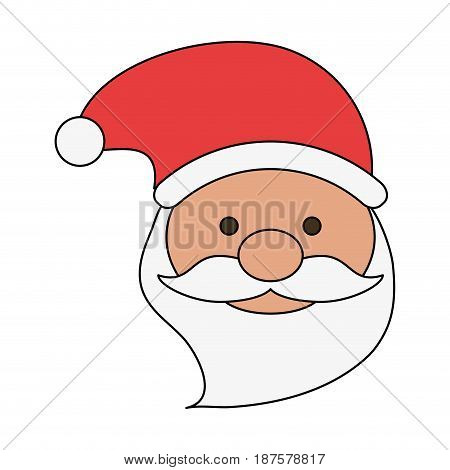white background with front face santa claus with christmas hat vector illustration