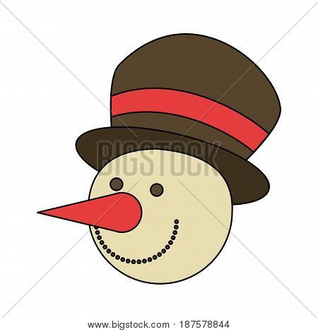 white background with face of snowman with hat vector illustration
