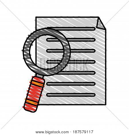 colorful crayon silhouette of file search magnifying glass vector illustration