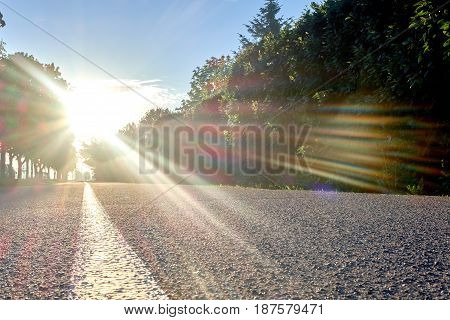 road to sunrise with the strip and flecks of sunlight