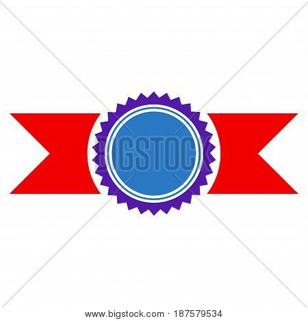 Seal Template With Ribbons flat vector pictograph. An isolated illustration on a white background.
