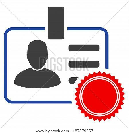 Stamped User Badge flat vector illustration. An isolated illustration on a white background.