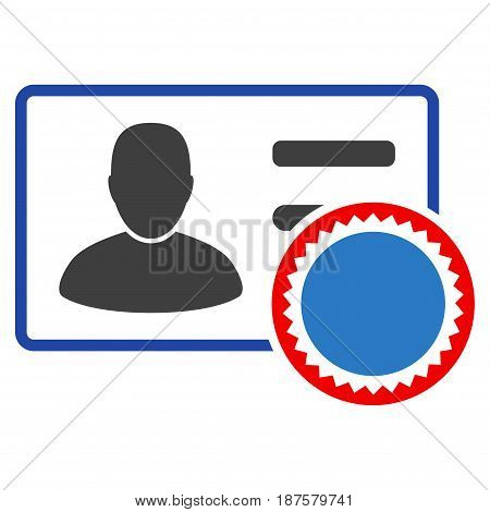 Stamped User Card flat vector pictograph. An isolated illustration on a white background.