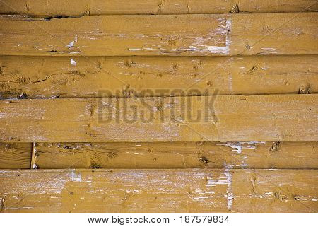 Dark Yellow Wooden Background With Copy Space For Advertisement Or Your Free Text Here. Shabby Chic Or Vintage Style