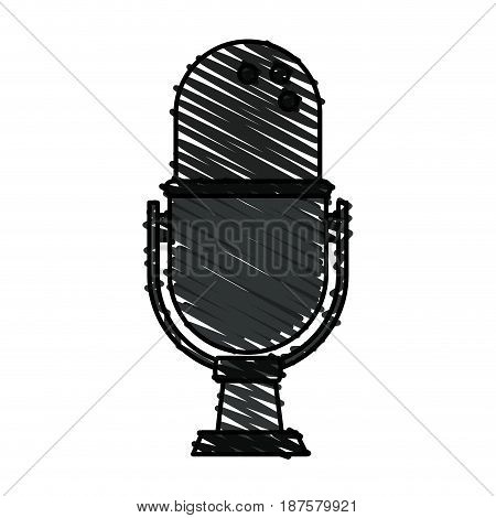colorful crayon silhouette of desk microphone with adjustable angle vector illustration