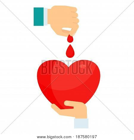 Hand dripping drops of blood into heart. Donation of blood concept. Donate blood day poster. Flat vector cartoon illustration. Objects isolated on a white background.