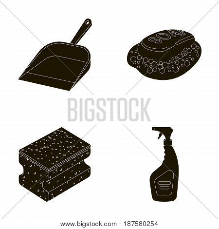 Blue scoop for garbage, pink soap with foam, sponge for washing, pulvelizer for with a means for windows. Cleaning set collection icons in black style vector symbol stock illustration .