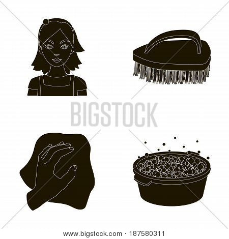 A cleaning woman, a housewife in an apron, a green brush, a hand with a rag, a blue wash hand basin with foam. Cleaning set collection icons in black style vector symbol stock illustration .