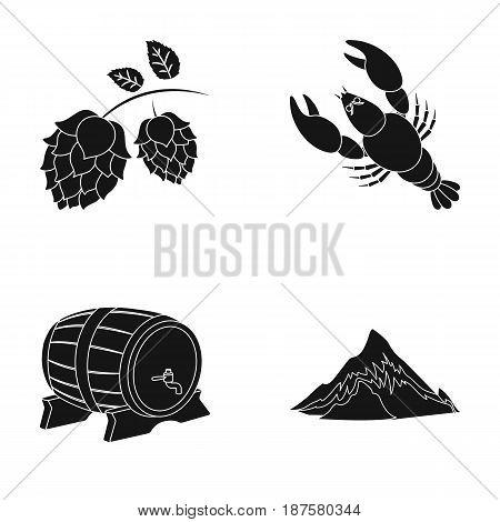 Alps, a barrel of beer, lobster, hops. Oktoberfestset collection icons in black style vector symbol stock illustration .