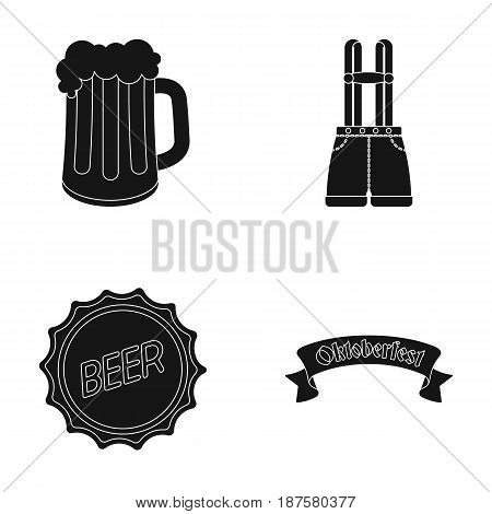Shorts with suspenders, a glass of beer, a sign, an emblem. Oktoberfestset collection icons in black style vector symbol stock illustration .