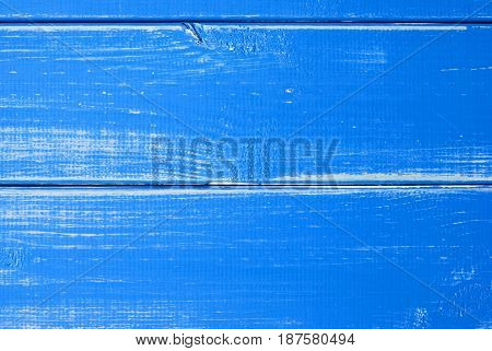 Blue Wooden Slats Background With Copy Space For Advertisement Or Your Free Text Here. Shabby Chic Or Vintage Style