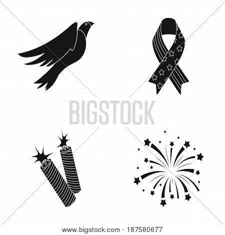 American eagle, ribbon, salute. The patriot s day set collection icons in black style vector symbol stock illustration .