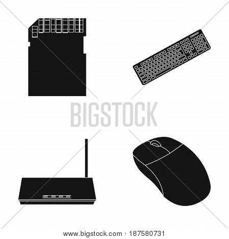 Router, computer mouse and other accessories. Personal computer set collection icons in black style vector symbol stock illustration .