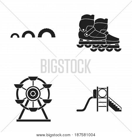 Ferris wheel with ladder, scooter. Playground set collection icons in black style vector symbol stock illustration .