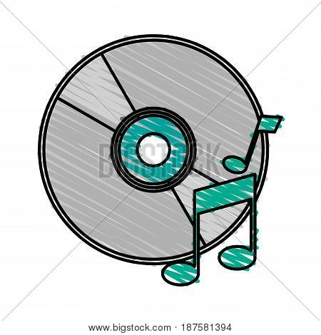 colorful crayon silhouette of music compact disc vector illustration