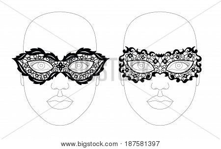 Facial lacy black elegant mask. Vector illustration