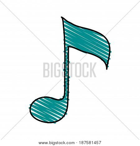 colorful crayon silhouette with sign eighth note vector illustration
