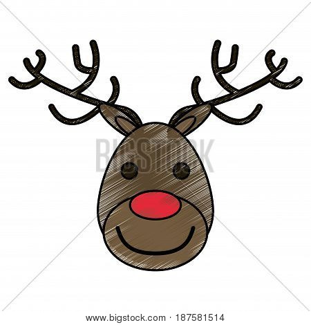 colorful crayon silhouette of face of reindeer with red nose vector illustration