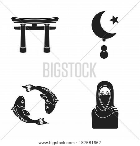 Torii, carp koi, woman in hijab, star and crescent. Religion set collection icons in black style vector symbol stock illustration .