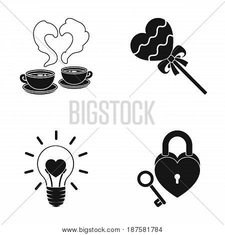 Cups with coffee, valentine, lamp, lock with key. Romantic set collection icons in black style vector symbol stock illustration .
