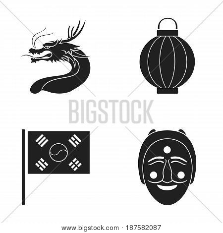 A fire-breathing dragon, a flashlight, a South Korean national flag, a mask, a Korean face in a tatra.South Korea set collection icons in black style vector symbol stock illustration .