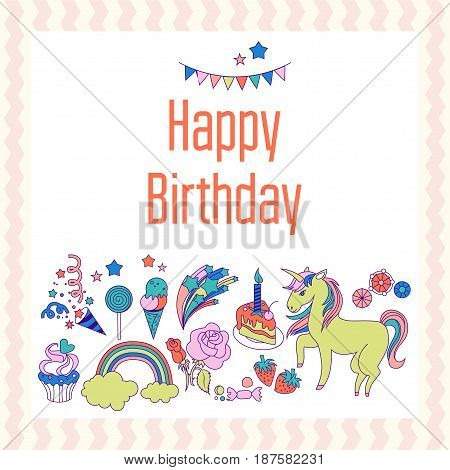 Hand-drawn elements rainbow, unicorn, cloud, cake, sweets, flower, strawberry, ice-cream for patches, stickers design cards and leaflets Cartoon elements characters