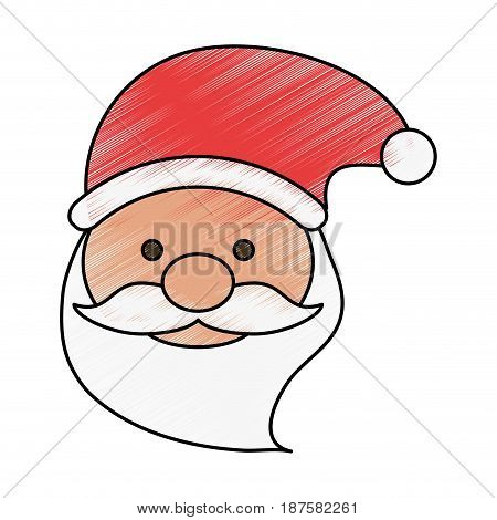 colorful crayon silhouette of front face santa claus with christmas hat vector illustration