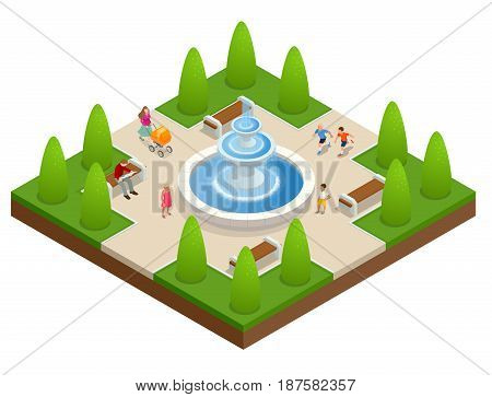 Beautiful fountain in the park. A zone of rest and relaxation. Children play near the fountain. Flat vector isometric on white background.