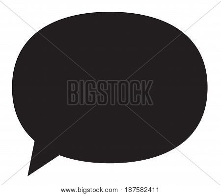 Black speech bubble icon illustration with space for text.